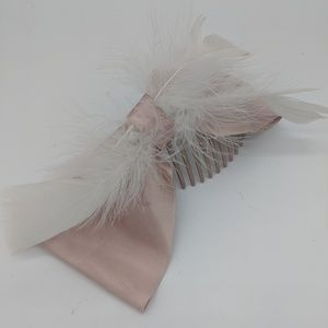 Pink Satin Bow Hair Comb